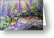 Blue Flowers Greeting Cards - Chipmunk On Log With Lupine Greeting Card by Patricia Pushaw
