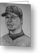Third Base Greeting Cards - Chipper Jones Greeting Card by Pete Maier