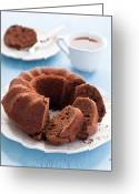 Cup Photo Greeting Cards - Chocolate Cake And Tea Greeting Card by Verdina Anna