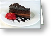 Serving Piece Greeting Cards - Chocolate Cake Greeting Card by Lisa  Phillips