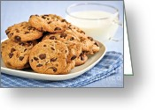 Hunger Greeting Cards - Chocolate chip cookies and milk Greeting Card by Elena Elisseeva