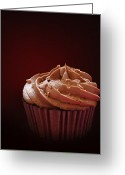 Whipped Topping Greeting Cards - Chocolate cupcake isolated Greeting Card by Jane Rix