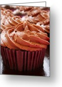 Junk Greeting Cards - Chocolate cupcakes Greeting Card by Jane Rix