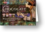 Latte Digital Art Greeting Cards - Chocolate Greeting Card by Evie Cook