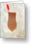 Chocolate Milkshake Greeting Cards - Chocolate Milk With Cherries On Top Greeting Card by Andee Photography