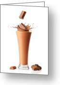 Splashes Greeting Cards - Chocolate Milkshake Smoothie Greeting Card by Christopher Elwell and Amanda Haselock
