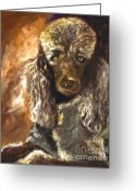 Pet Portrait Drawings Greeting Cards - Chocolate Poodle Greeting Card by Susan A Becker