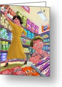 Candy Bars Greeting Cards - Chocolate Shopping Greeting Card by Martin Davey