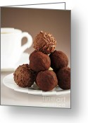 Round Greeting Cards - Chocolate truffles and coffee Greeting Card by Elena Elisseeva