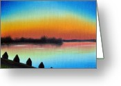 Linen Greeting Cards - Choptank Shadows Greeting Card by Tim Webster