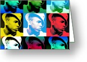 Lil Wayne Greeting Cards - CHris Brown Warhol by GBS Greeting Card by Anibal Diaz