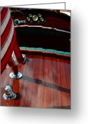 Stripes Greeting Cards - Chris Craft with Flag and Steering Wheel Greeting Card by Michelle Calkins