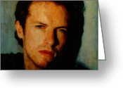 Coldplay Greeting Cards - Chris Martin of Coldplay Greeting Card by Nop Briex