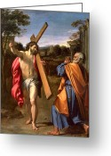 Pointing Painting Greeting Cards - Christ Appearing to St. Peter on the Appian Way Greeting Card by Annibale Carracci