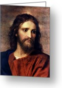 Portrait Greeting Cards - Christ at 33 Greeting Card by Heinrich Hofmann