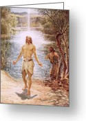 Jesus Painting Greeting Cards - Christ baptised by John the Baptist Greeting Card by William Brassey Hole