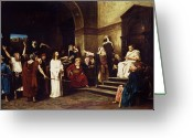 Hall Greeting Cards - Christ Before Pilate Greeting Card by Mihaly Munkacsy
