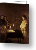 Guards Greeting Cards - Christ before the High Priest Greeting Card by Gerrit van Honthorst