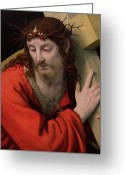 Shoulder Painting Greeting Cards - Christ Carrying the Cross Greeting Card by Andrea Solario