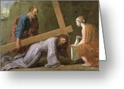 Way Of The Cross Greeting Cards - Christ Carrying the Cross Greeting Card by Eustache Le Sueur