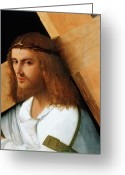 Jesus Painting Greeting Cards - Christ Carrying the Cross Greeting Card by Giovanni Bellini