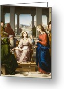Christ Child Greeting Cards - Christ Disputing with the Doctors in the Temple Greeting Card by Franz von Rohden