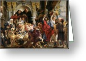 Business Painting Greeting Cards - Christ Driving the Merchants from the Temple Greeting Card by Jacob Jordaens
