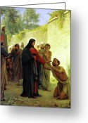 Jesus Painting Greeting Cards - Christ Healing the Blind Man Greeting Card by Carl Heinrich Bloch