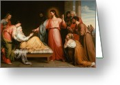 Invalid Greeting Cards - Christ healing the mother of Simon Peter Greeting Card by John Bridges
