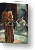 Jesus Painting Greeting Cards - Christ in front of Pontius Pilate Greeting Card by Henry Coller