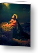 Prints Greeting Cards - Christ In Garden of Gethsemane Greeting Card by Heinrich Hofmann