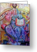 Byzantine Icon Greeting Cards - Christ in Majesty II Greeting Card by Tanya Ilyakhova