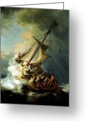 Peace Be Still Greeting Cards - Christ In The Storm Greeting Card by Rembrandt