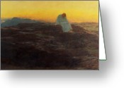Sunlight Painting Greeting Cards - Christ in the Wilderness Greeting Card by Briton Riviere