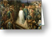 Guards Greeting Cards - Christ Leaves his Trial Greeting Card by Gustave Dore