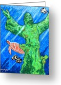Caribbean Art Pastels Greeting Cards - Christ of the Deep Greeting Card by William Depaula