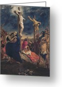 Cross Bones Greeting Cards - Christ on the Cross Greeting Card by Delacroix