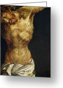 Central Painting Greeting Cards - Christ on the Cross Greeting Card by Matthias Grunewald