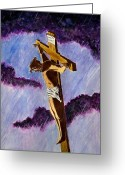 Crucifix Art Greeting Cards - Christ on the Cross Greeting Card by Michael Vigliotti