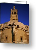 Religious Icon Greeting Cards - Christ on the cross outside the Nortre Dame De La Garde Greeting Card by Sami Sarkis
