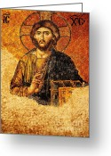 Byzantine Photo Greeting Cards - Christ Pantocrator Greeting Card by Dean Harte
