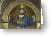 Byzantine Greeting Cards - Christ Pantocrator Greeting Card by Erik Falkensteen