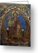 Indoor Greeting Cards - Christ Pantocrator fresco. Basilica Saint-Julien. Brioude. Haute Loire. Auvergne. France. Greeting Card by Bernard Jaubert