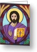 Icon Byzantine Greeting Cards - Christ Pantokrator Icon Greeting Card by David Raber