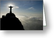Statues Greeting Cards - Christ The Redeemer Statue At Sunrise Greeting Card by Joel Sartore