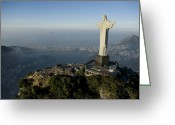 Bays Greeting Cards - Christ The Redeemer Statue Greeting Card by Joel Sartore