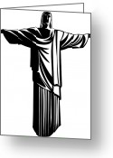 Jesus Christ Icon Greeting Cards - Christ The Redeemer Greeting Card by Stock Foundry