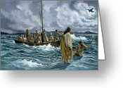 Fishing Boat Greeting Cards - Christ walking on the Sea of Galilee Greeting Card by Anonymous