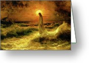Walking Greeting Cards - Christ Walking On The Waters Greeting Card by Christ Images