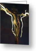 Luz Greeting Cards - Christ with flames of light Greeting Card by Fernando Alvarez